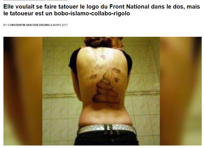 Revue de Presse Elle voulait se faire tatouer le logo du FN dans le dos,  son tatoueur était un gauchiste